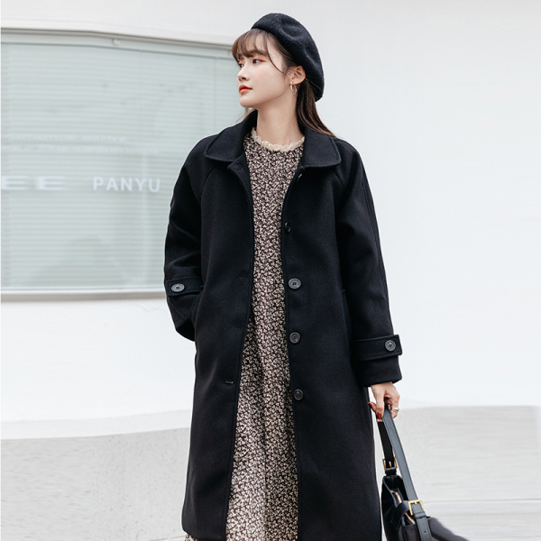 TS48625#赫本风毛呢外套女秋冬季新款黑色中长款呢子大衣加厚小个子