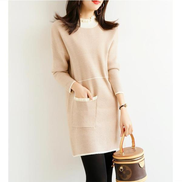 KTY12448#小香风针织连衣裙2020新款秋冬季女装长袖气质减龄显瘦小...
