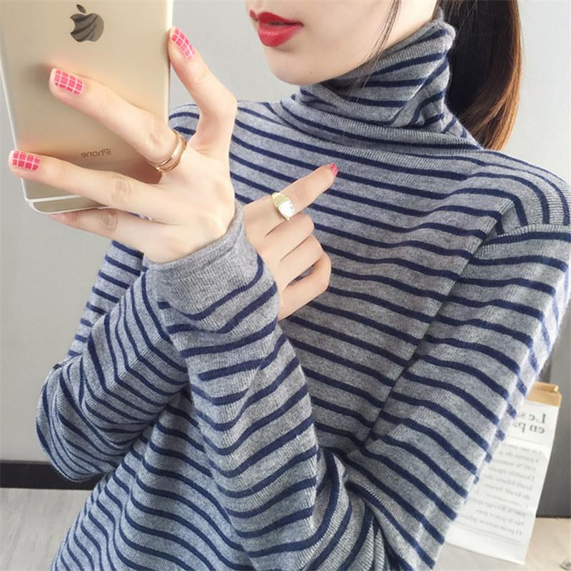 2021年秋冬裝新款百搭條紋堆堆高領女毛衣洋氣上衣內搭加厚打底衫