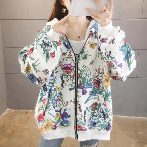 KTY12528#加绒印花宽松卫衣小众设计感上衣女网红减龄拉链开衫外套