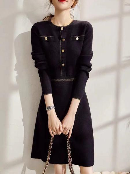 KTY12509#巧夺天工的显瘦不可错过羊毛针织连衣裙