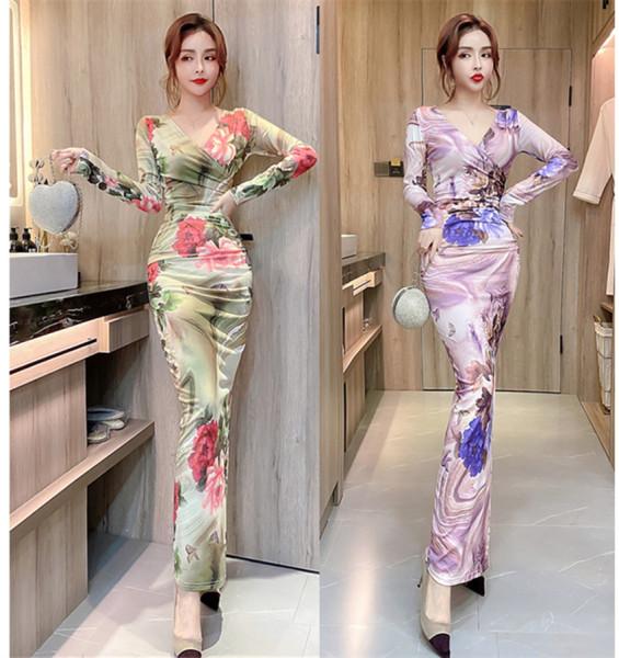 TS47908#秋长袖新款女装包臀印花修身大码性感长裙开叉时尚连衣裙