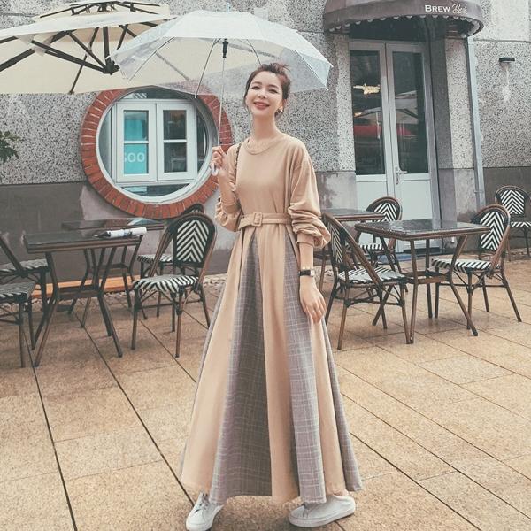 TS48704#法式长袖卫衣连衣裙女秋装韩版新款大摆拼色收腰显瘦气质长裙