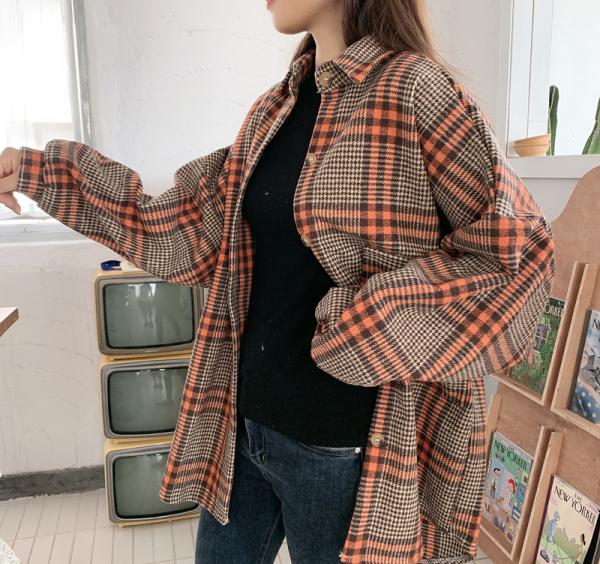 TS47687#韩版秋冬原宿风毛呢格子衬衫大码宽松蝙蝠袖中长款衬衣外套女