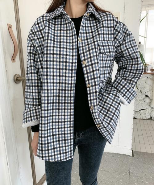 TS47688#韩版冬季格子加绒保暖衬衫原宿风休闲北极绒休闲加厚外套女