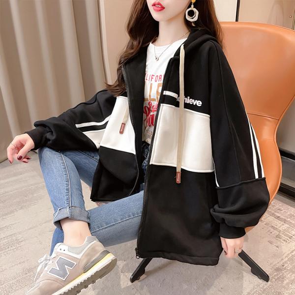 KTY12529#加绒印花宽松卫衣小众设计感上衣女网红减龄拉链开衫外套