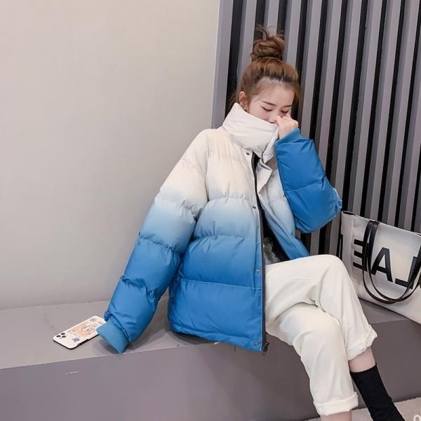 TS48688#新款冬天加厚渐变色面包服棉服女日系百搭棉衣夹棉外套
