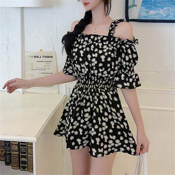 TS48787#大码女装新款胖妹妹夏装短袖小雏菊胖mm宽松显瘦连衣裙女