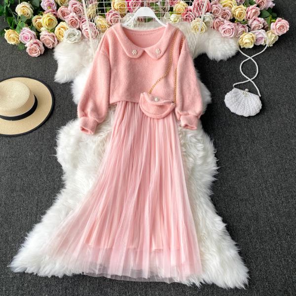 TS48687#可爱娃娃领套头上衣+网纱拼接吊带裙子+配色包包  三件套