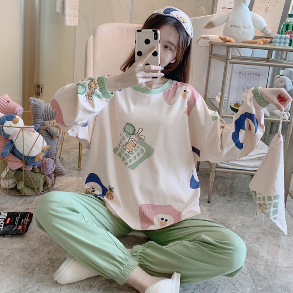 TS48545#秋季32支6535精梳拉架棉长袖套装M-XXL 送带眼罩收...