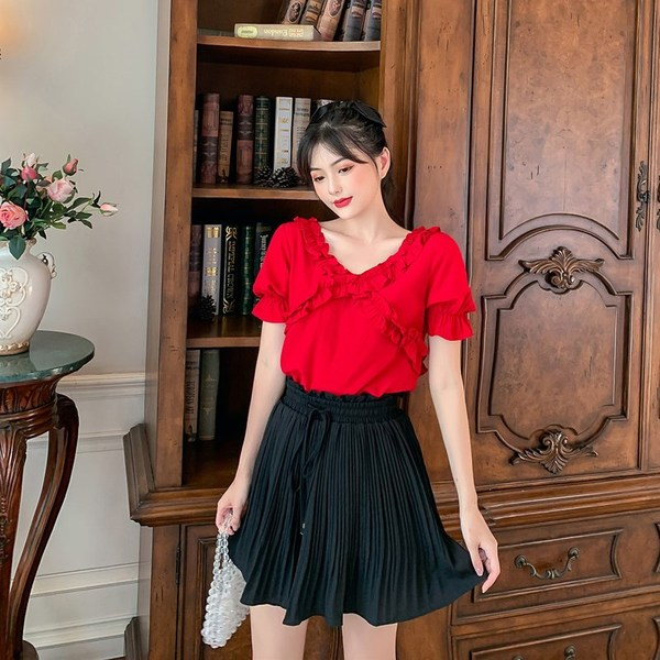 TS48789#大码女装新款夏装微胖妹妹减龄显瘦V领上衣阔腿裤套装女