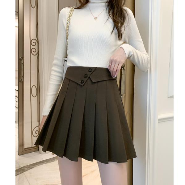 TS48693#秋冬新款毛呢百褶短裙a字高腰裤裙显瘦百搭黑色半身裙子