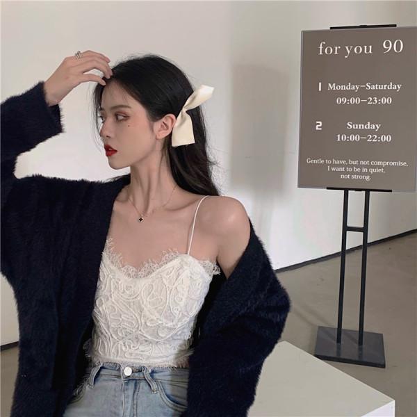 TS48507#性感白色蕾丝吊带背心打底内搭宽松遮肚百搭短款胸衣