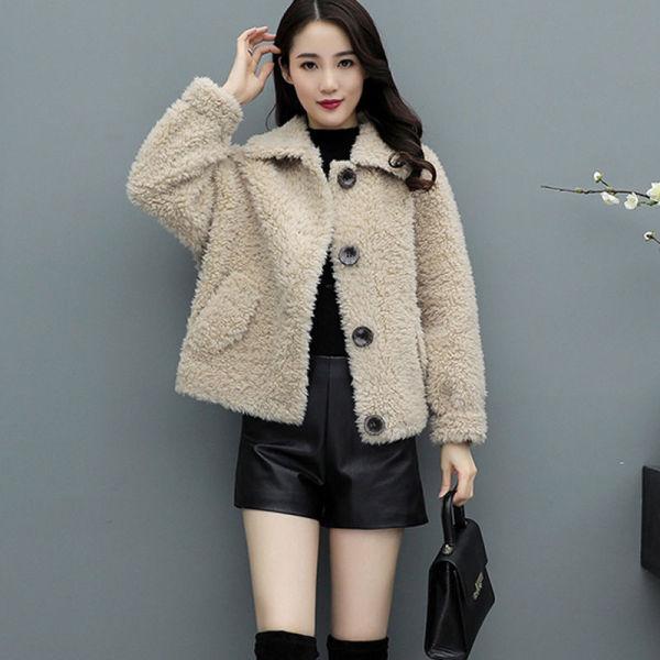TS48785#羊羔毛外套女短款冬季新韩版宽松洋气小个子加厚chic皮毛一...