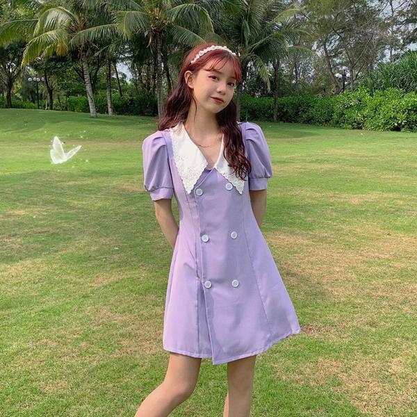TS48791#新款大码紫色连衣裙法式气质收腰显瘦微胖MM穿搭西装裙女