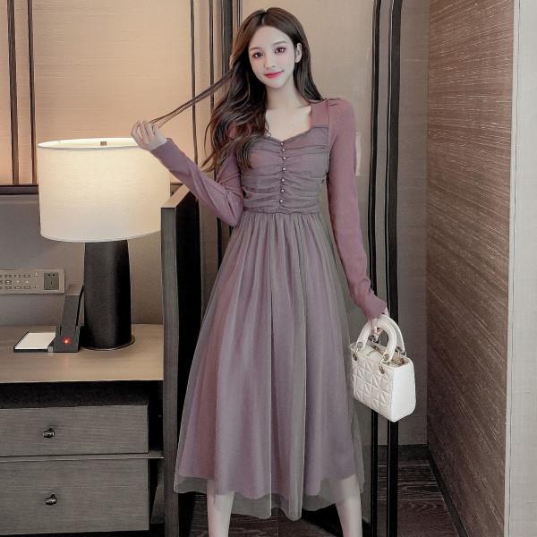 TS49415#秋冬新款法式桔梗磨毛保暖棉拼接网纱超仙气质优雅打底连衣裙