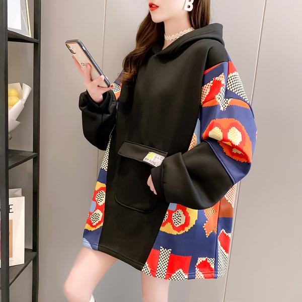 TS49327#冬装韩版复合加绒加厚连帽印花大码女装卫衣女