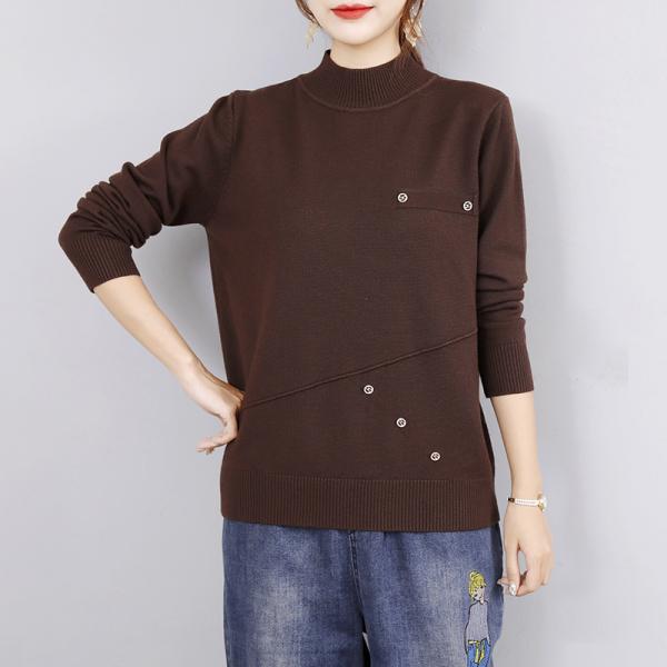 KTY12636#针织衫女2020冬季新款毛衣套头半高领内搭宽松打底衫上衣