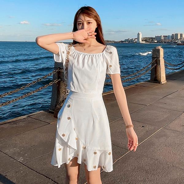 TS49689#两件套气质连衣裙海边度假时尚显瘦仙女裙套装夏