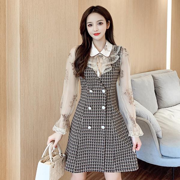 TS49598#秋冬新款时尚亮片刺绣网纱袖拼接格子娃娃脸连衣裙