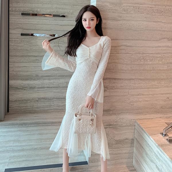 TS49584#新款秋冬裙子打底内搭性感法式气质修身显瘦中长款连衣裙