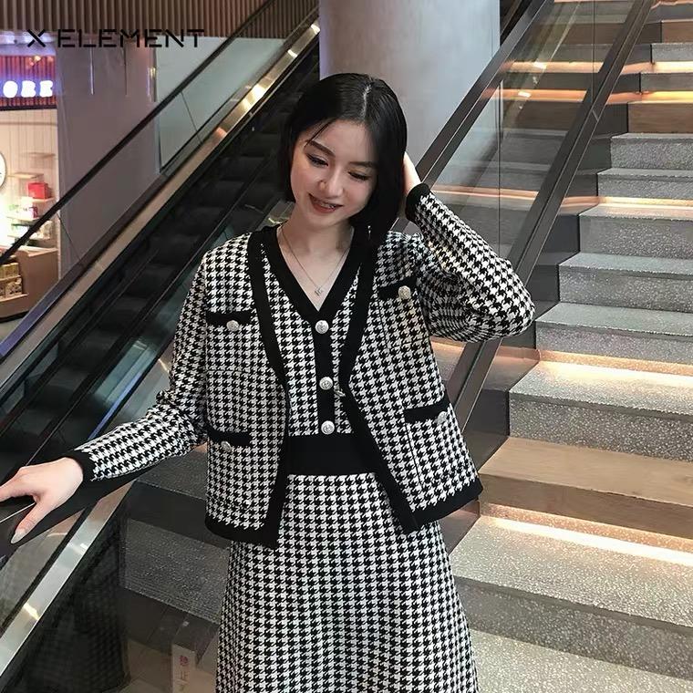 大码女装2020冬季新款时尚洋气胖mm显瘦小香风套装两件套