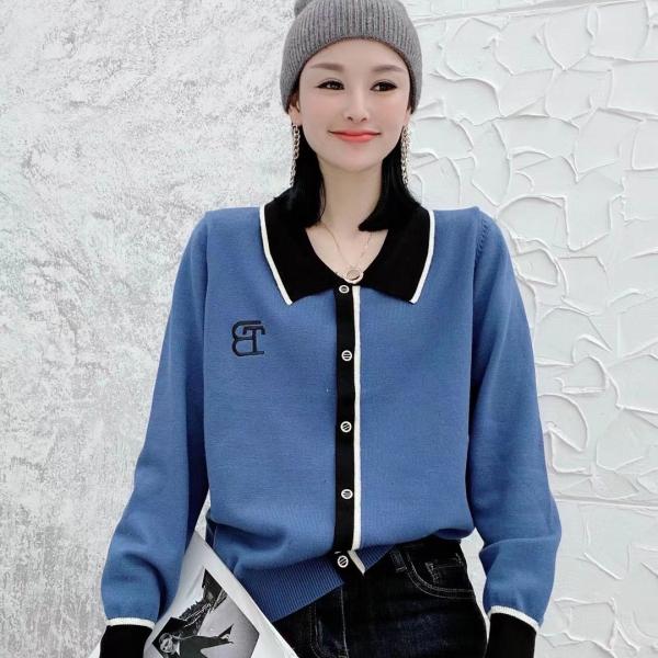 KTY12677#秋冬装翻领单排扣刺绣毛织开衫时尚修身显瘦洋气百搭款上衣