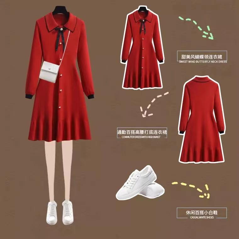 秋冬娃娃領蝴蝶結收腰顯瘦內搭打底針織遮肚長袖紅色減齡連衣裙女