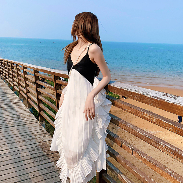 TS49785#沙滩裙三亚海边度假旅游拍照衣服女出游超仙性感露背吊带连衣裙...