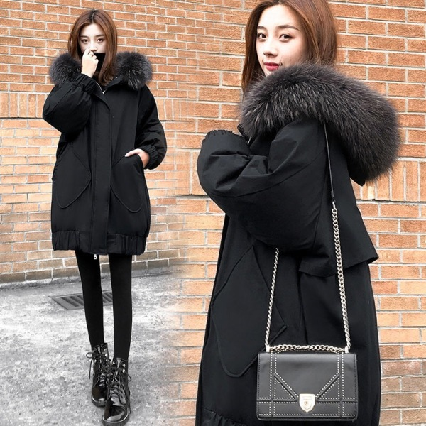 TS52692#黑色羽绒服女装新款冬季中长款宽松显瘦大码加厚外套女