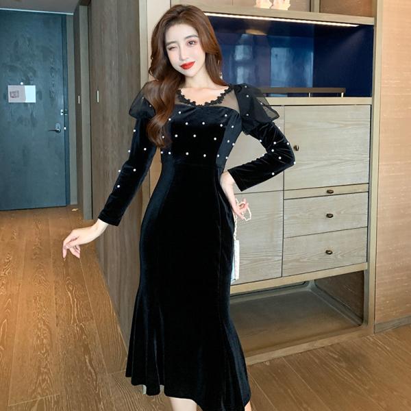 TS49419#秋冬新款高贵洋气法式小众气质晚礼服金丝绒连衣裙小黑裙