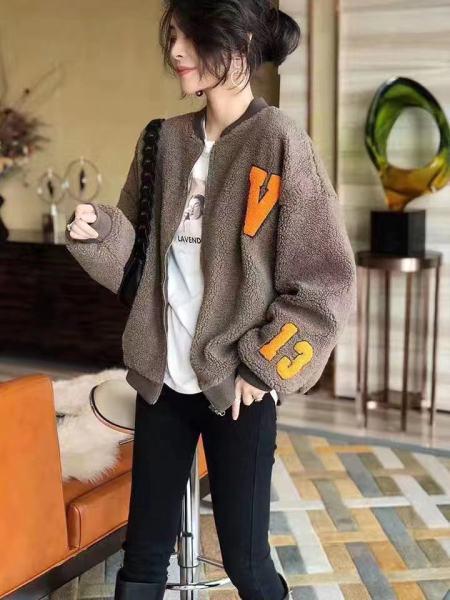 KTY12641#韩国字母羊羔绒外套