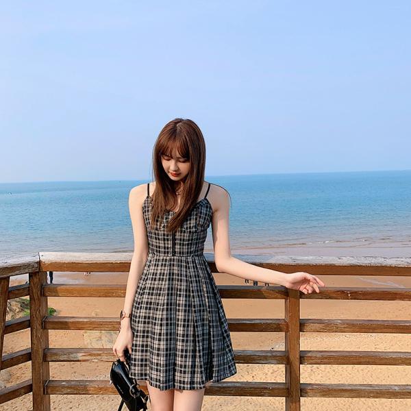 TS49690#女夏季显瘦法式复古格子吊带连衣裙