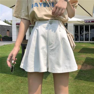TS49946#韩版宽松学生百搭a字阔腿裤松紧腰休闲短裤