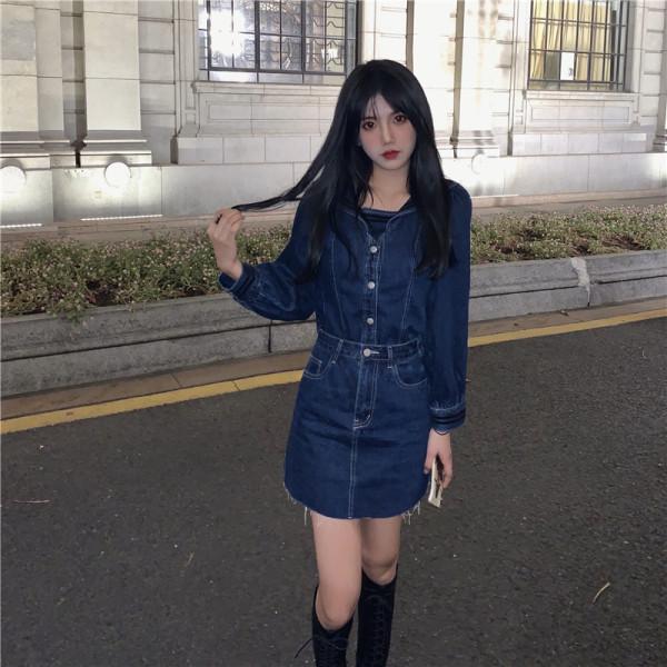 TS49756#气质时尚洋气减龄女牛仔上衣+高腰半身裙两件套套装