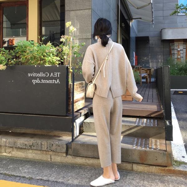 KTY13568#秋冬款港风复古chic毛衣配裤子两件套
