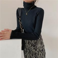 实拍高领坑条纹针织打底衫秋冬韩版修身显瘦堆堆领内搭毛衣女上衣