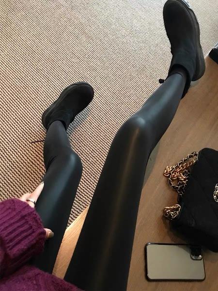 KTY12966#皮裤女外穿紧身显瘦加绒弹力高腰哑光百搭黑色打底长裤
