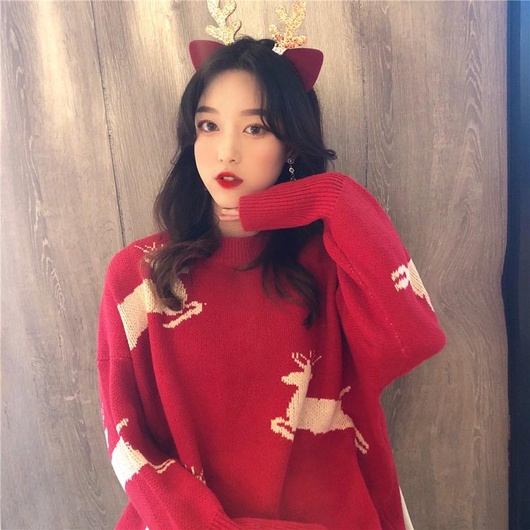日系古著外穿紅色圣誕毛衣女2020年新款秋冬季寬松慵懶風復古上衣