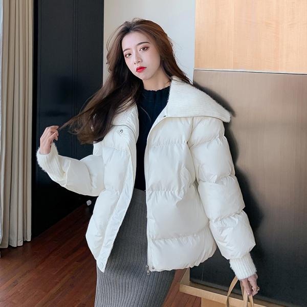 TS54303#韩版宽松显瘦短款水貂毛大翻领小清新棉服针织袖面包服甜美外套