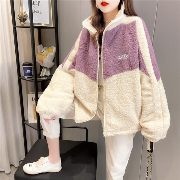TS54139#羊羔毛外套女秋冬百搭矮个子新款韩版宽松炸街棉衣棉服