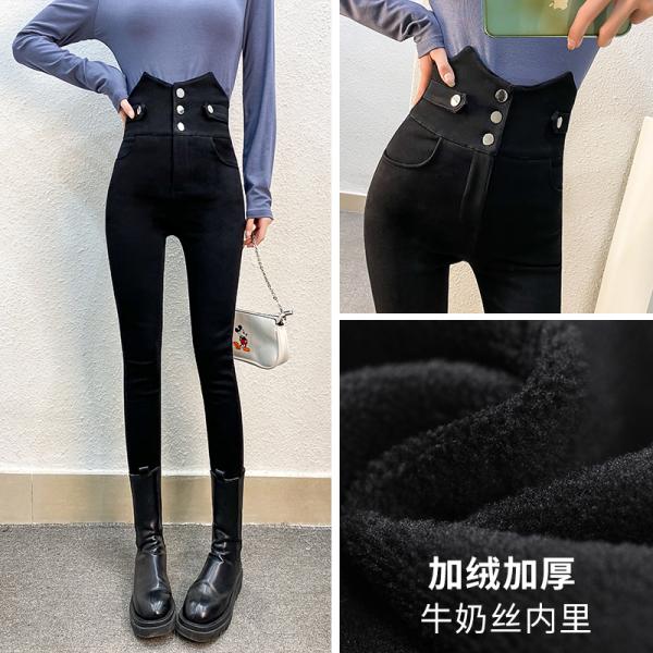 TS54305#保暖护腰厚绒超高腰打底裤加绒加厚后背交叉束腰弹力小脚裤