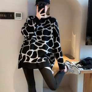 KTY13695#胖m豹纹套头针织衫女2020年新款洋气韩版复古新年外穿慵懒风毛衣
