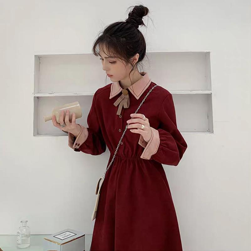 秋冬裙子女新款中长款收腰复古设计感气质红色桔梗长袖连衣裙
