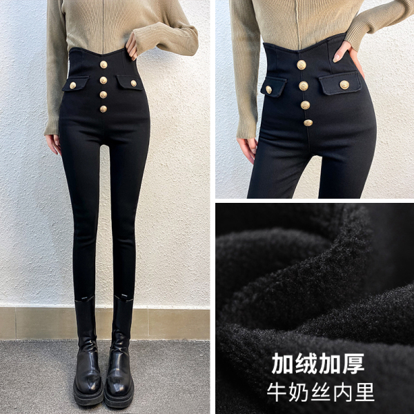 TS54307#排扣设计感高腰黑色打底裤冬季收腰加绒加厚百搭小脚铅笔裤