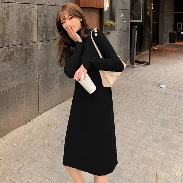 KTY13602#半高领纽扣打底裙女洋气内搭女士毛衣裙简约宽松款
