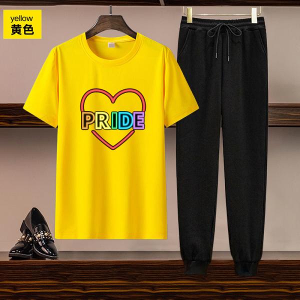 TS55206#欧美女装跨境亚马逊独立站货源休闲套装印花短袖T恤长裤两件套