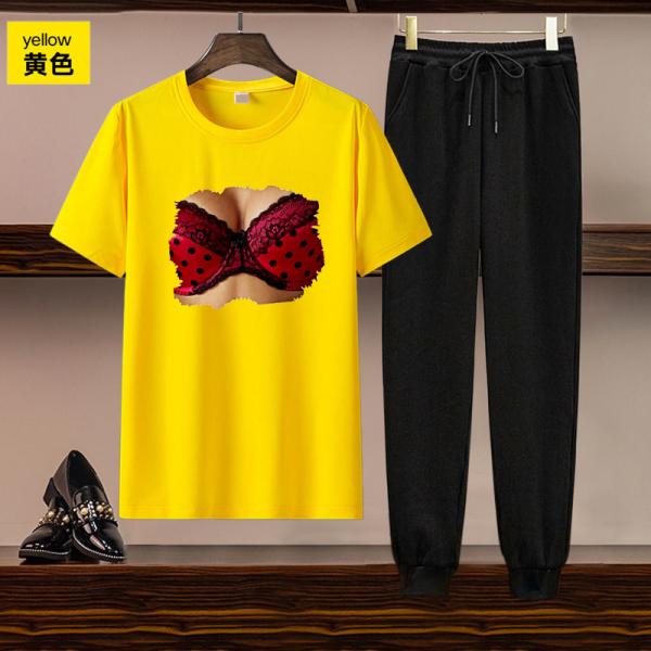 TS55207#欧美女装跨境亚马逊独立站货源休闲套装印花短袖T恤长裤两件套