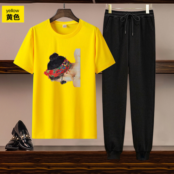 TS55211#欧美女装跨境亚马逊独立站货源休闲套装印花短袖T恤长裤两件套