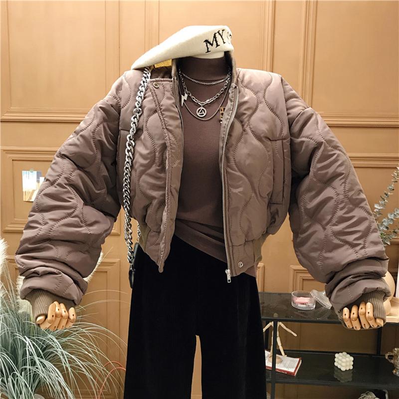 1227#官图实价 2021新款冬装加厚棉服女宽松棒球服棉衣短款外套